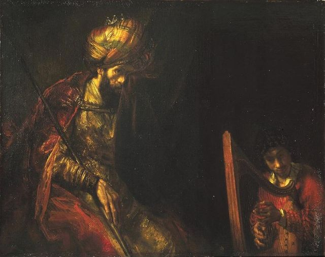 David Plays the Harp for Saul by Rembrandt