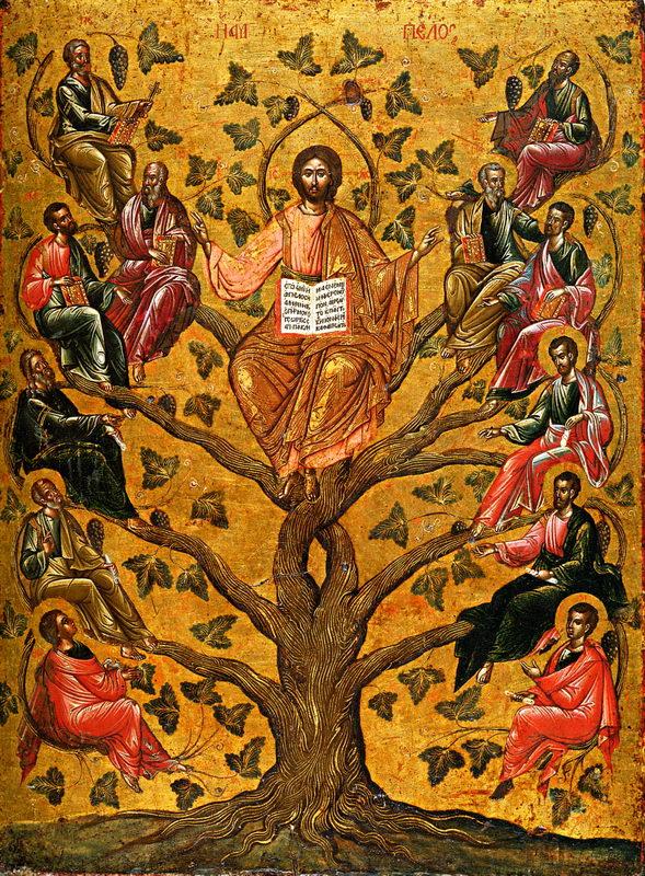 Christ the True Vine (Greek Icon 16th C.)