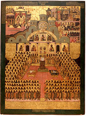 Seventh ecumenical council, Icon, 17th century, Novodevichy Convent, Moscow (Photo credit: Wikipedia)